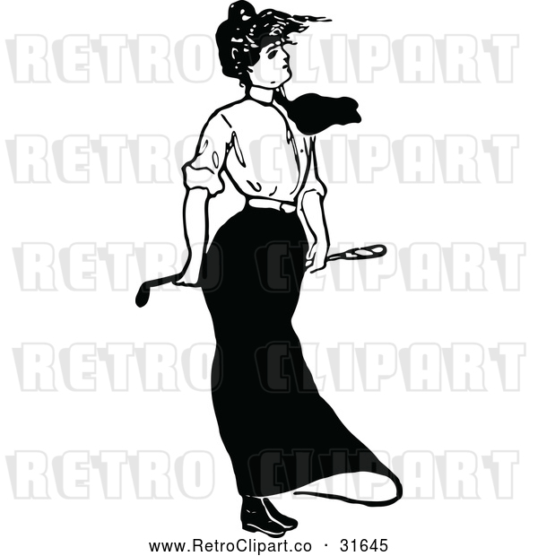 Vector Clip Art of a Retro Lady Golfing