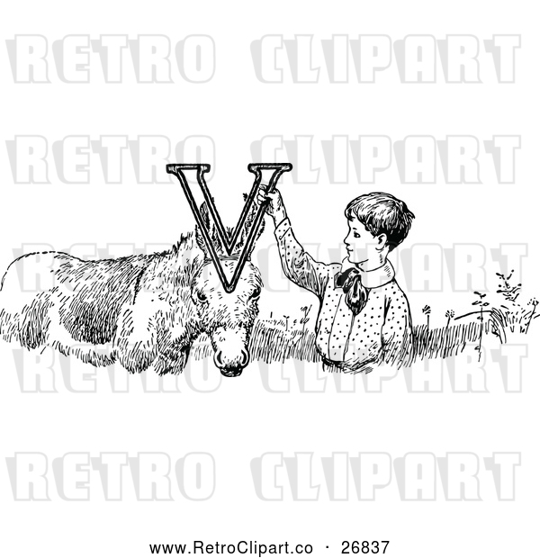: Vector Clip Art of a Retro Letter Alphabet V Boy and Donkey