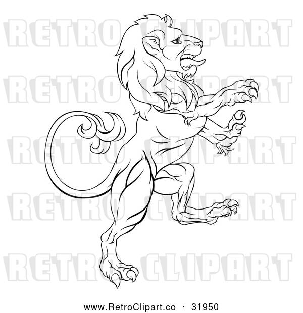 Vector Clip Art of a Retro Lion Confidently Rearing up with Hostile Intentions