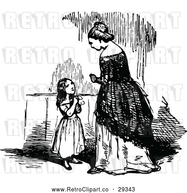 : Vector Clip Art of a Retro Little Girl Asking Woman Question - Black and White