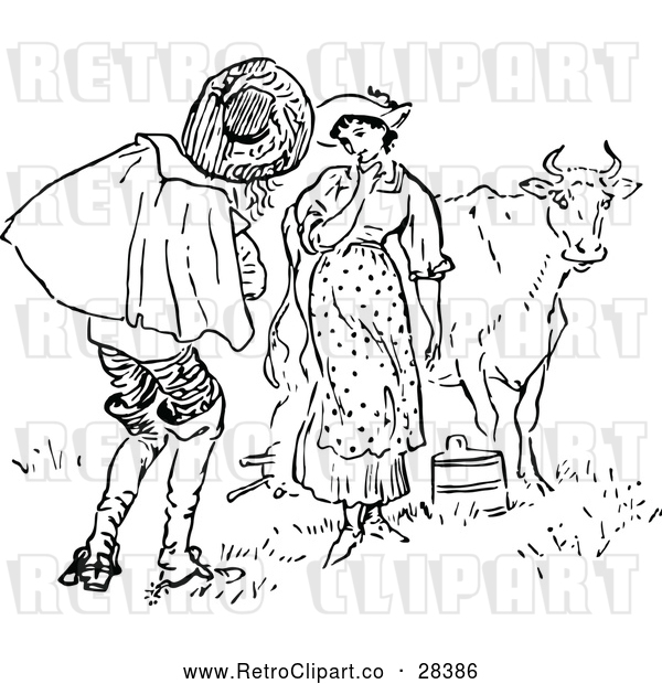 Vector Clip Art of a Retro Man and Milk Maid with Cow