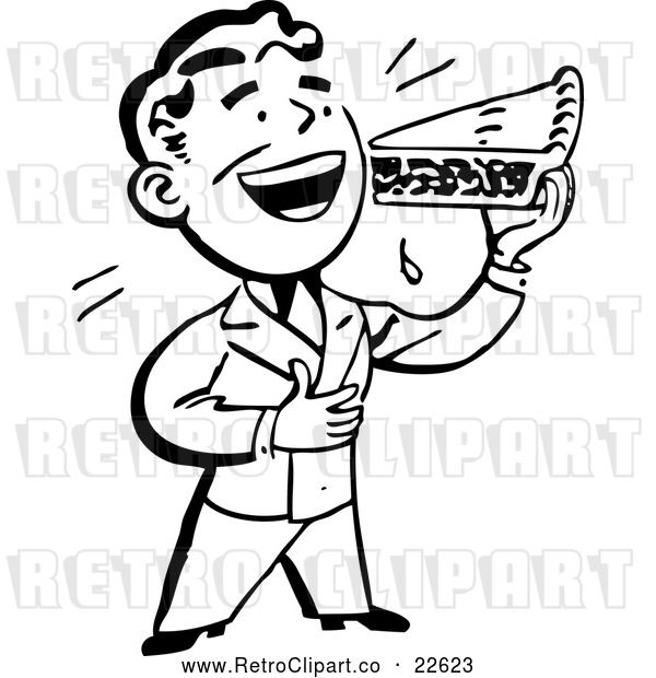 Vector Clip Art of a Retro Man Eating a Slice of Pie