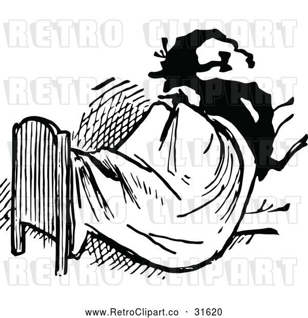 Vector Clip Art of a Retro Man Sitting up in Bed