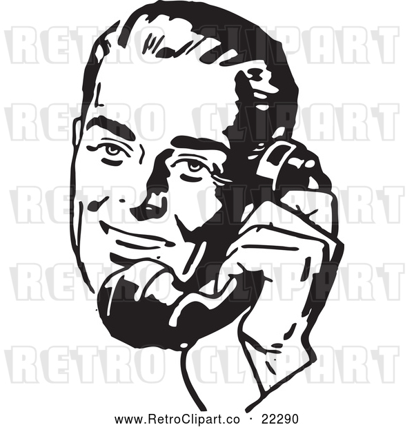 Vector Clip Art of a Retro Man Talking on Old Phone - Black and White