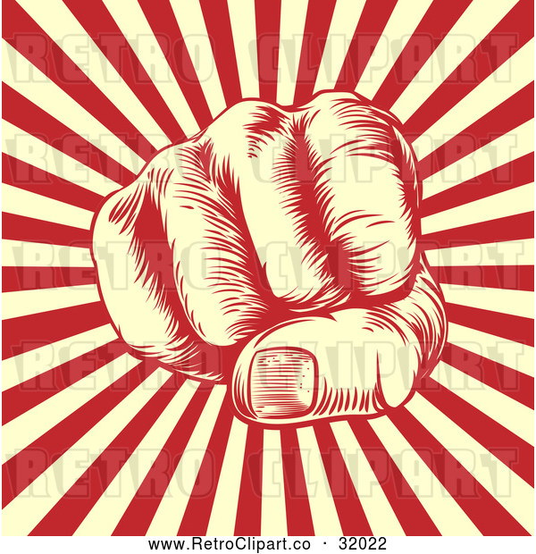 Vector Clip Art of a Retro Man's Fist over Beige and Red Rays