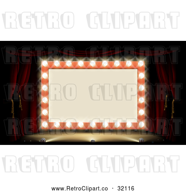 Vector Clip Art of a Retro Marquee Theater Sign Lit up with Bulbs and Stage Lights