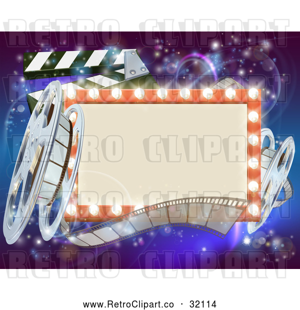 Vector Clip Art of a Retro Marquee Theater Sign V1000001