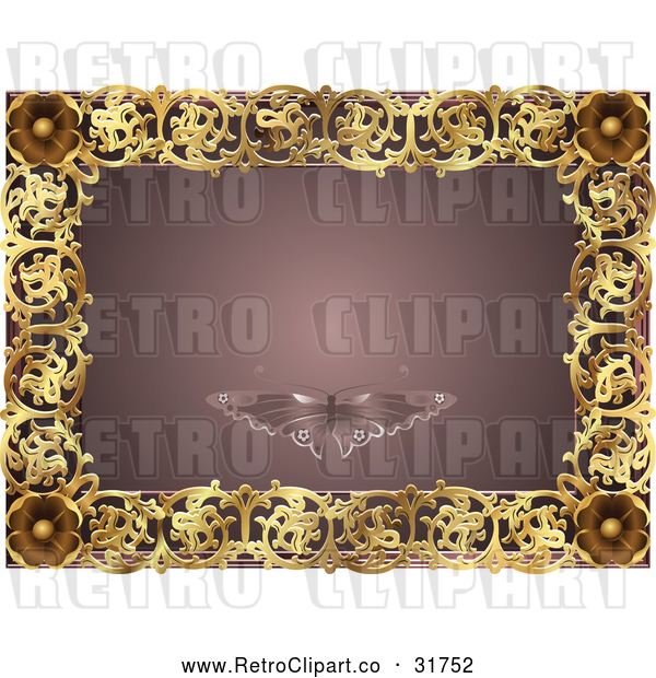Vector Clip Art of a Retro Mauve and Gold Butterfly Frame with Copyspace
