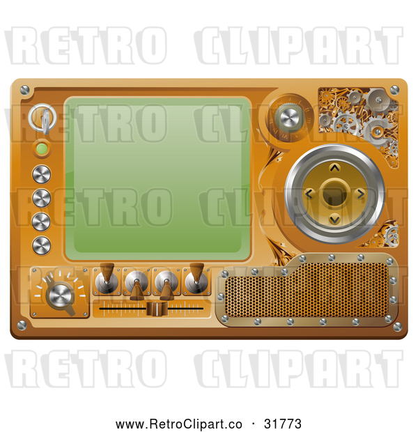 Vector Clip Art of a Retro Media Player Screen with Several Controls