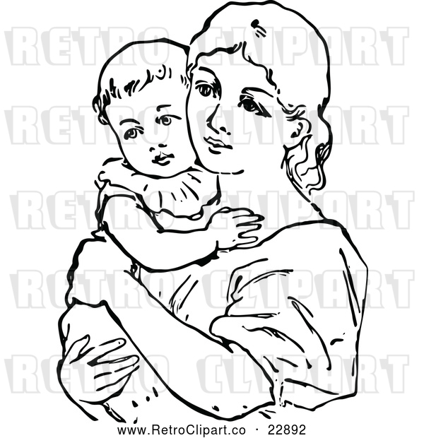 Vector Clip Art of a Retro Mother Holding Her Baby