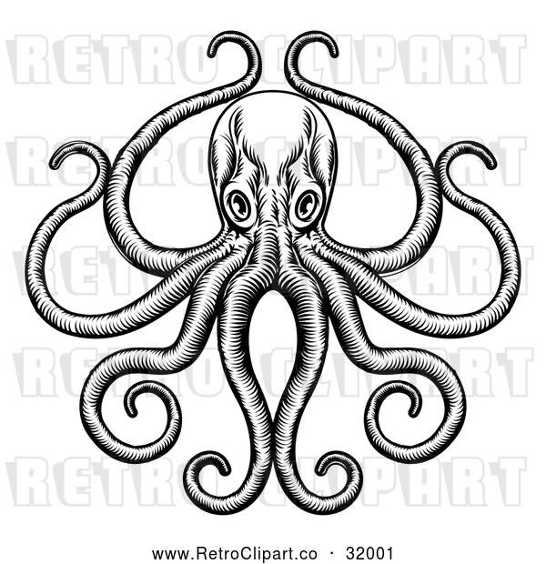 Vector Clip Art of a Retro Octopus and Long Tentacles in Black and White