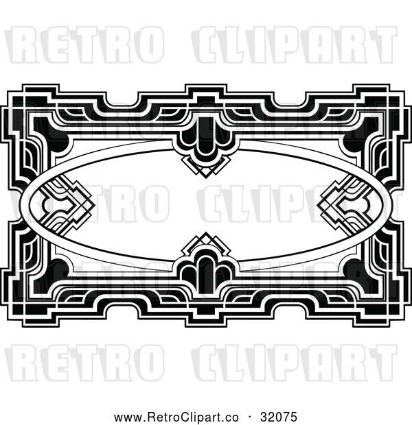 Vector Clip Art of a Retro Ornate Deco Frame