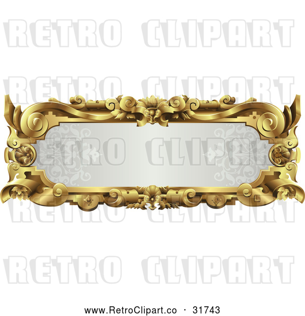 Vector Clip Art of a Retro Ornate Gray and Gold Frame with Blank Space