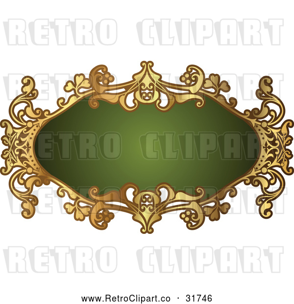 Vector Clip Art of a Retro Ornate Green and Gold Frame with Blank Space