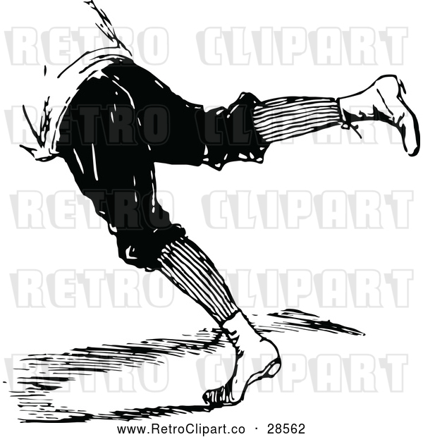 Vector Clip Art of a Retro Person's Legs Leaping Forward or Falling