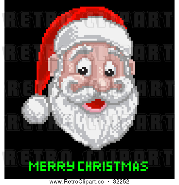 Vector Clip Art of a Retro Pixelated Santa with Merry Christmas Text