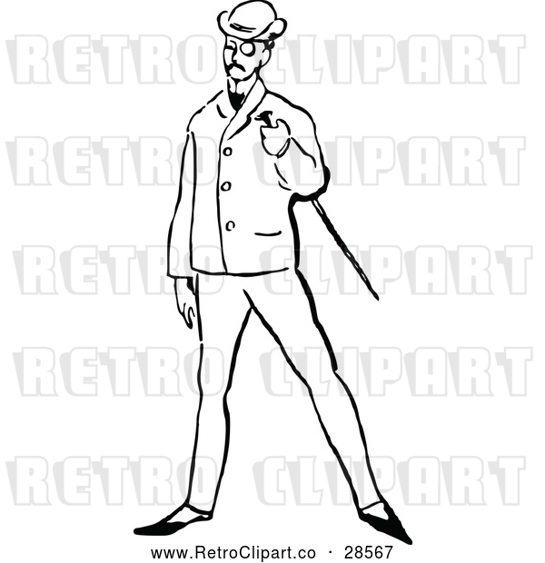 : Vector Clip Art of a Retro Posh Man with a Cane