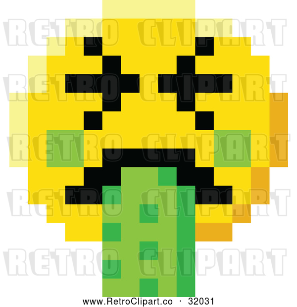 Vector Clip Art of a Retro Puking 8 Bit Video Game Style Smiley Face
