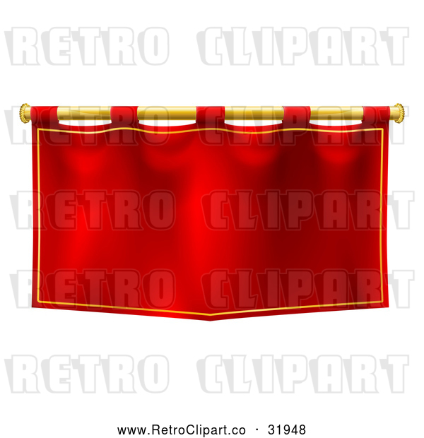 : Vector Clip Art of a Retro Red Banner with Gold Rod