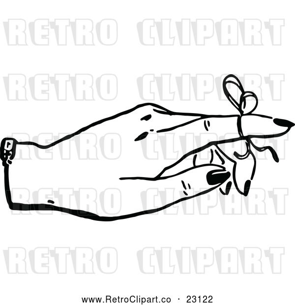 Vector Clip Art of a Retro Reminder Ribbon on a Finger