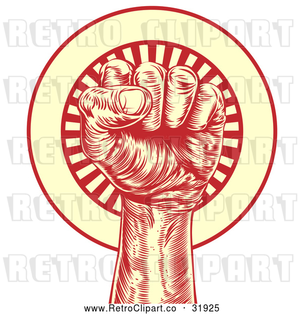 : Vector Clip Art of a Retro Revolutionary Fist over a Circle of Rays - Red and Yellow Theme