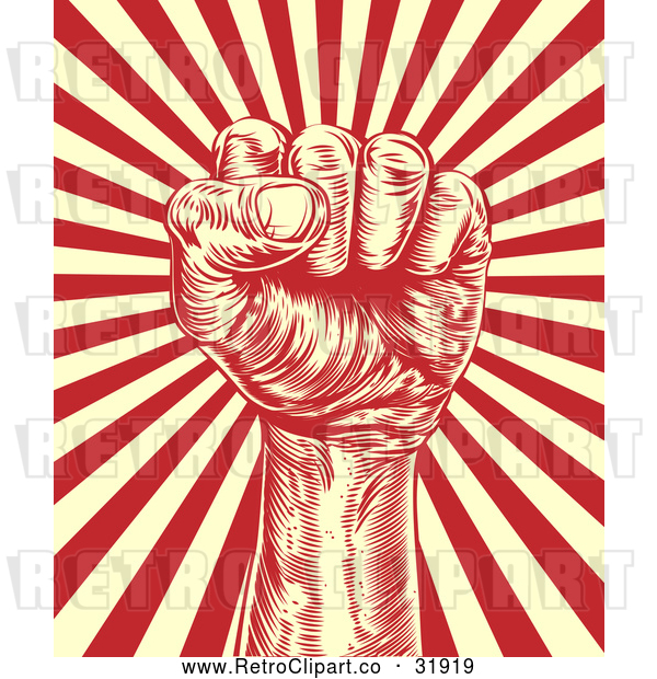 Vector Clip Art of a Retro Revolutionary Fist over Beige and Red Rays