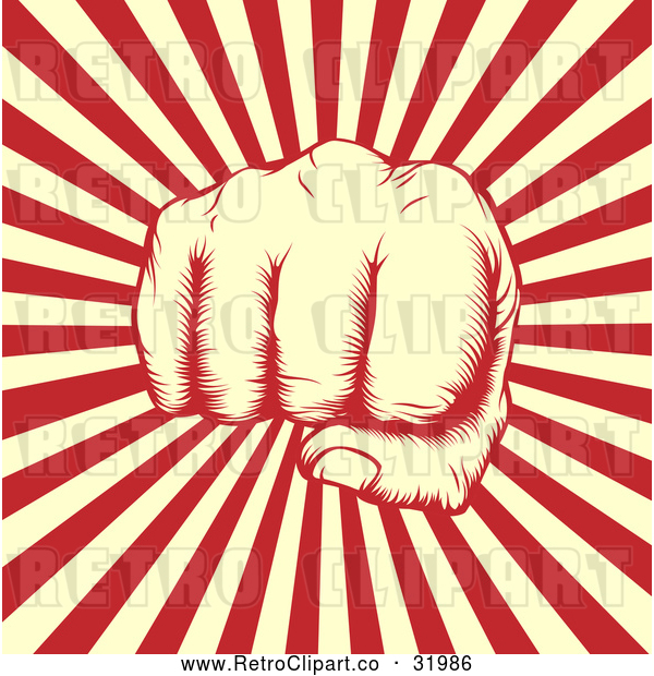 : Vector Clip Art of a Retro Revolutionary Fist over Beige and Red Rays