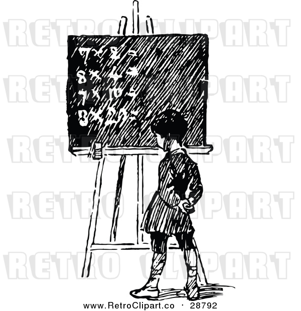: Vector Clip Art of a Retro School Boy Facing Chalk Board with Math Equations