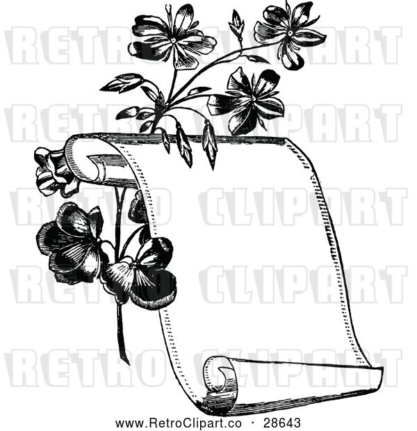 Vector Clip Art of a Retro Scroll Beside Flowers