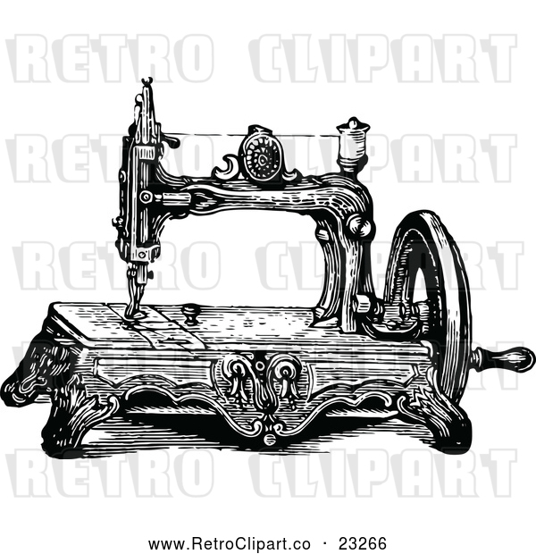 Vector Clip Art of a Retro Sewing Machine