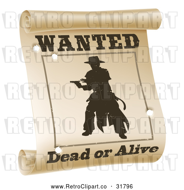 Vector Clip Art of a Retro Silhouetted Outlaw Wanted Dead or Alive Poster with Bullet Holes