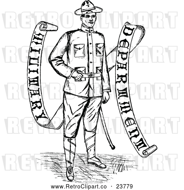 Vector Clip Art of a Retro Soldier Beside Banner