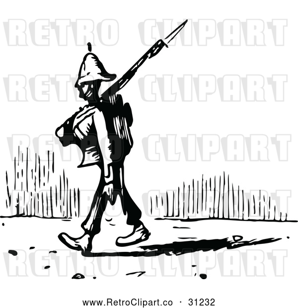 Vector Clip Art of a Retro Soldier Pacing with Rifle