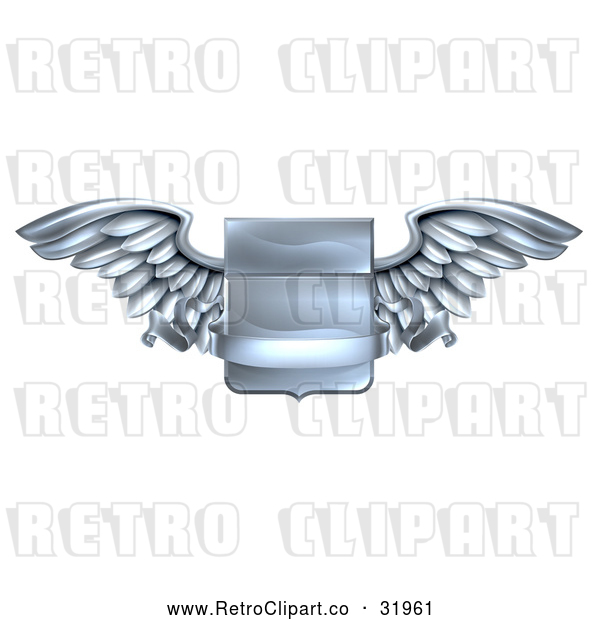 Vector Clip Art of a Retro Steel Metal Heraldic Winged Shield with a Blank Banner Ribbon