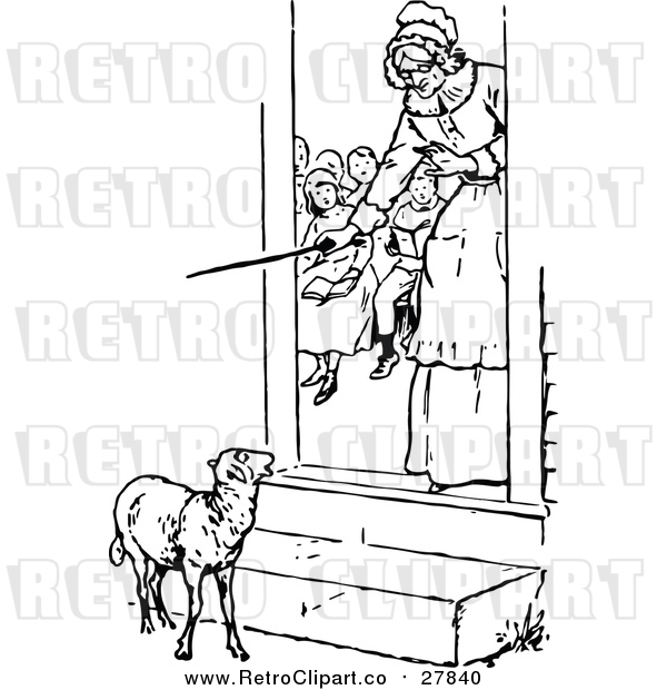 Vector Clip Art of a Retro Teacher Looking at a Lamb from Her Classroom