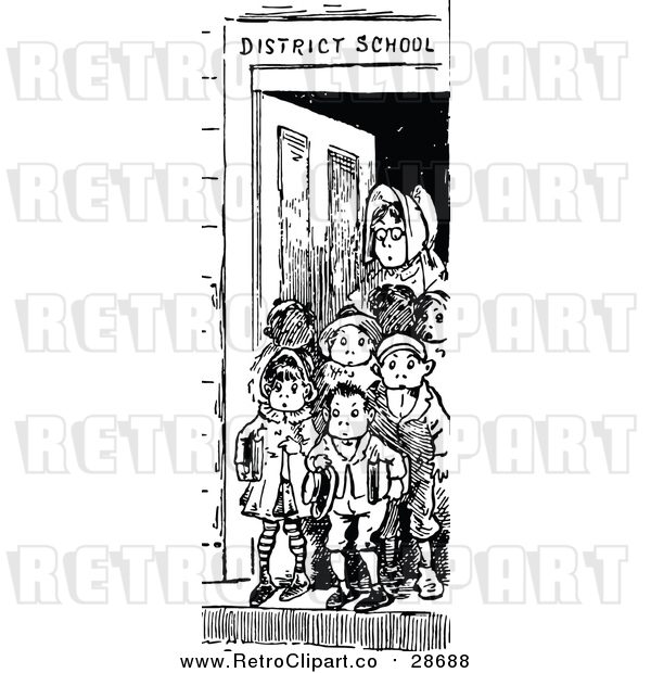 Vector Clip Art of a Retro Teacher Standing with Young Student at Front Door of School