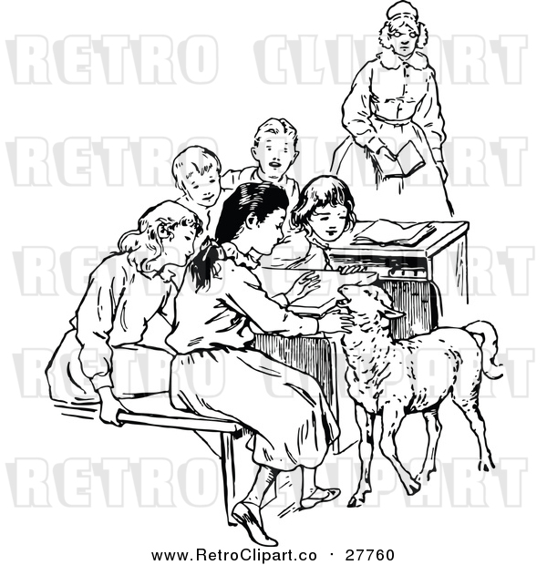 Vector Clip Art of a Retro Teacher with Students and a Lamb