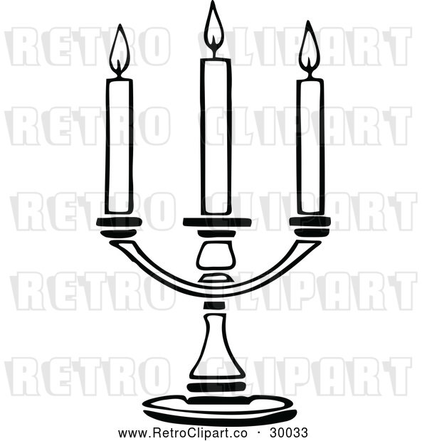 Vector Clip Art of a Retro Triple Candle Holder