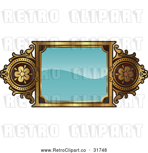Vector Clip Art of a Retro Turquoise and Gold Frame with Copyspace