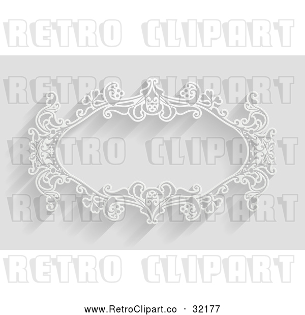 Vector Clip Art of a Retro White Ornate Floral Frame in Black and White