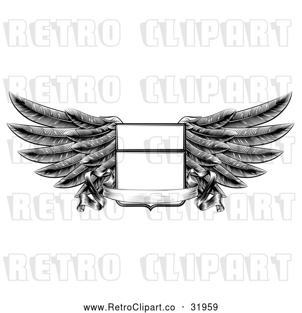 Vector Clip Art of a Retro Winged Shield Insignia with a Banner Scroll in Black and White