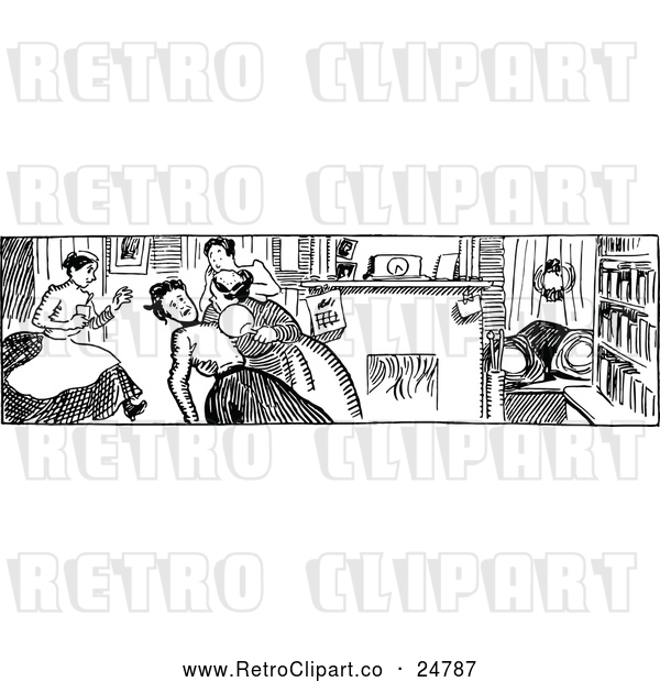 : Vector Clip Art of a Retro Woman Fainting in Black and White