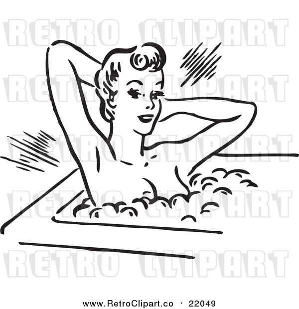 Vector Clip Art of a Retro Young Lady Relaxing in a Hot Bubble Bath