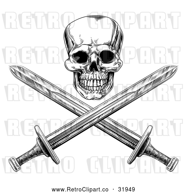 Vector Clip Art of a Ruthless Retro Human Skull Maliciously Grinning with Crisscrossed Swords