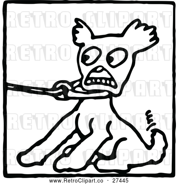 Vector Clip Art of a Scared Retro Dog Pulling Against a Leash