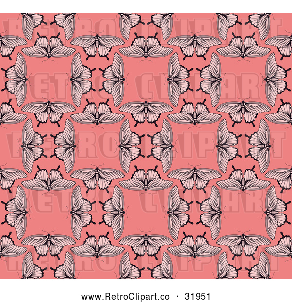 Vector Clip Art of a Seamless Retro Pink Background of Butterflies Repeating Blank Squares