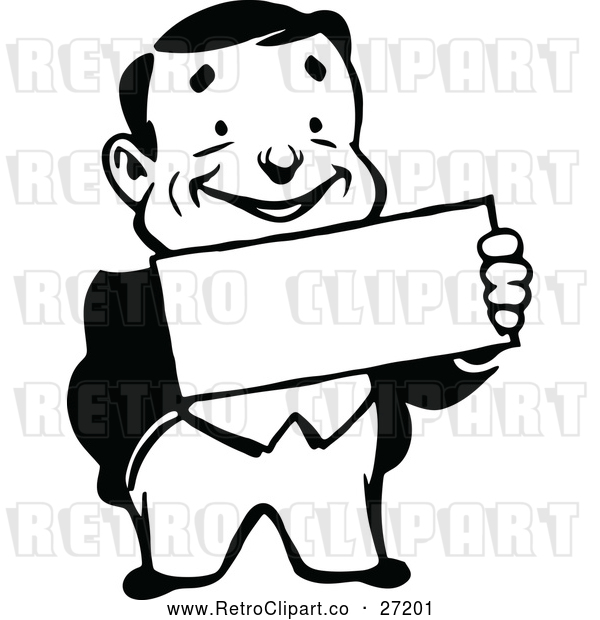 Vector Clip Art of a Smiling Retro Business Man Holding a Sign