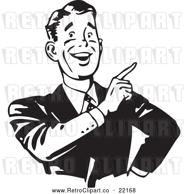 Vector Clip Art of a Smiling Retro Businessman Pointing Finger up