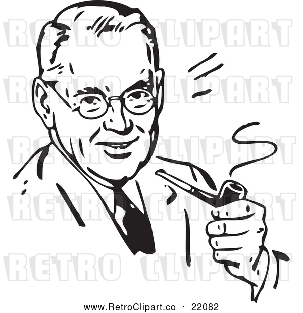 Vector Clip Art of a Smiling Retro Man Smoking a Pipe