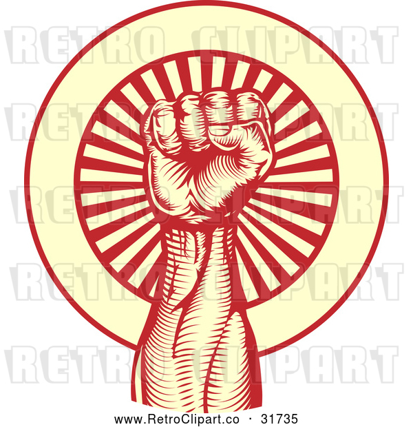 Vector Clip Art of a Stong Retro Power Fist over a Red Yellow Bursting Background